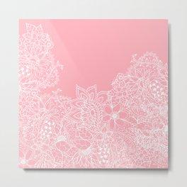 Modern white floral pattern handdrawn illustration on girly pastel pink Metal Print