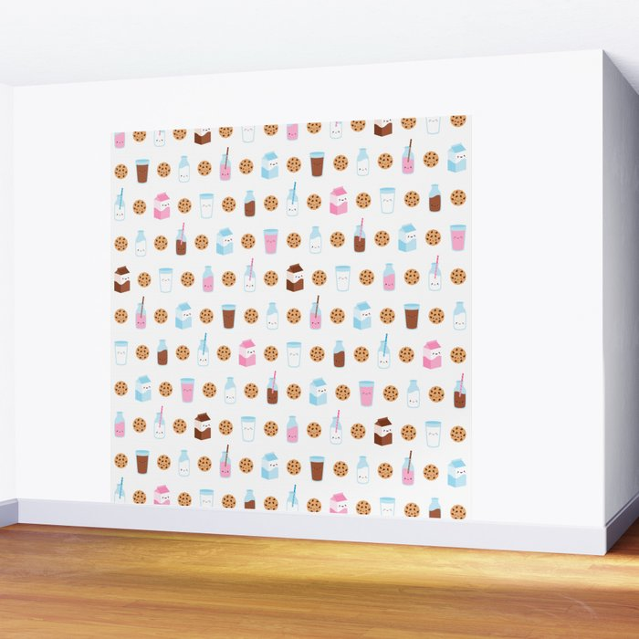 Milk and Cookies Pattern on White Wall Mural