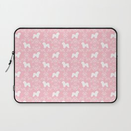 Bichon Frise dog florals silhouette pink and white minimal pet art dog breeds silhouettes Laptop Sleeve