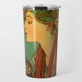 """Alphonse Mucha """"Laurel"""" Travel Mug"""