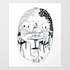 Skeleton Tarot 2 of Mugs Art Print