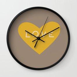 Golden love heart on grey Wall Clock