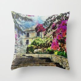Vintage street in Calabria Amantea Throw Pillow