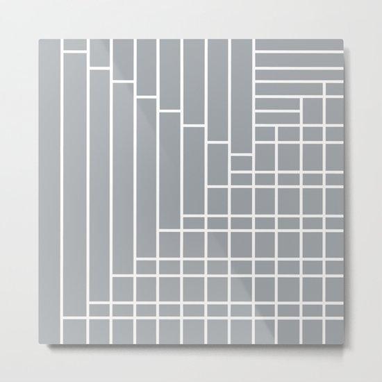 Fuzz Outline Grey Metal Print