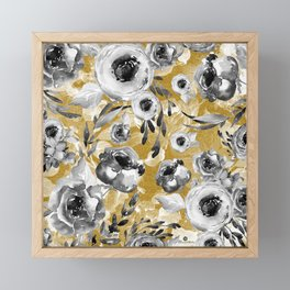Black and white flowers with gold Framed Mini Art Print