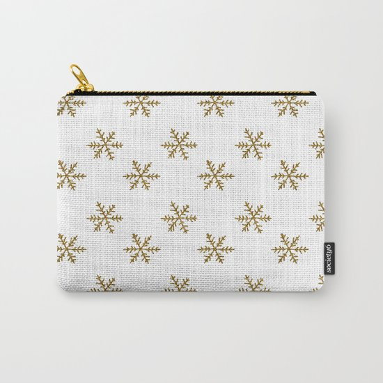 Merry christmas- Gold glitter snowflakes- Winter pattern Carry-All Pouch