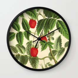 antique Handcoloured lithograph Rubus rosifolius-french vintage Wall Clock