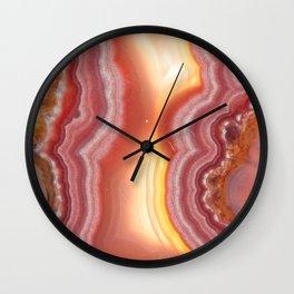 Sunrise Pink Orange Yellow Agate Wall Clock