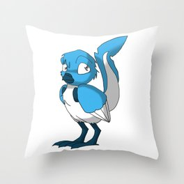Light Blue/Color-Or-Paint-Your-Own Reptilian Bird w/ Dark Blue Beak/Legs/Hands #ArtofGaneneK #Animal Throw Pillow