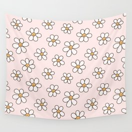 Cute Happy Smiling Daisies, Retro Smiley Daisy Pattern in Soft Girly Pastel Blush Color Smile Flower Wall Tapestry