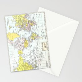 Vintage World Map Stationery Cards
