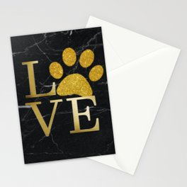 Love is a Four Letter Word - Black and Gold Stationery Cards