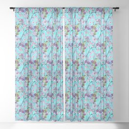 Art Deco Floral Fantasy Pattern in Aqua Background Sheer Curtain