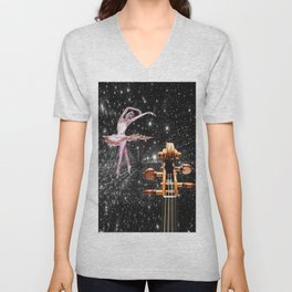 Violin and Ballet Dancer number 1 Unisex V-Neck