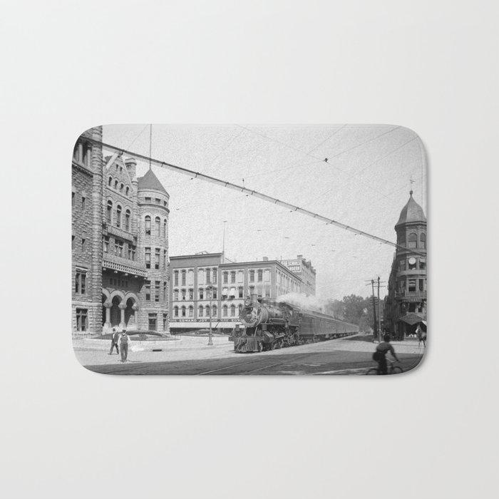 Empire State Express (New York Central Railroad) coming thru Washington Street, Syracuse, N.Y. Bath Mat
