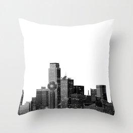 Dallas Texas Skyline in Black and White Throw Pillow
