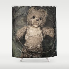 trapped teddy bear Shower Curtain