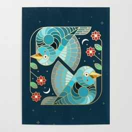 Beautiful Art Deco Midnight Bluebirds And Blossoms Poster