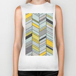 Colorful Concrete Chevron Pattern - Yellow, Blue, Grey Biker Tank
