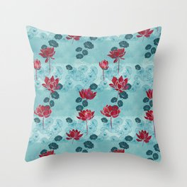 Pure zen waterlily pattern Throw Pillow