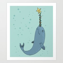 Holiday Narwhal Art Print