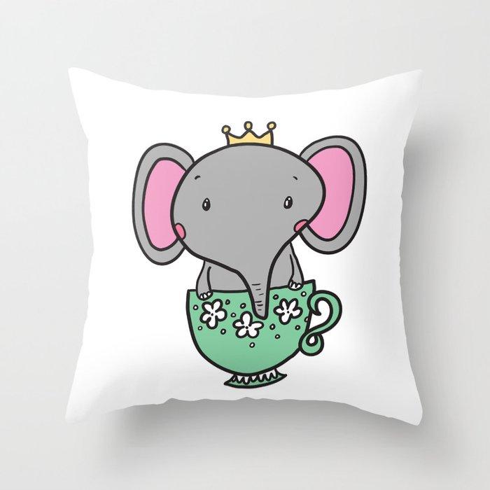 Teacup Elephant  Throw Pillow
