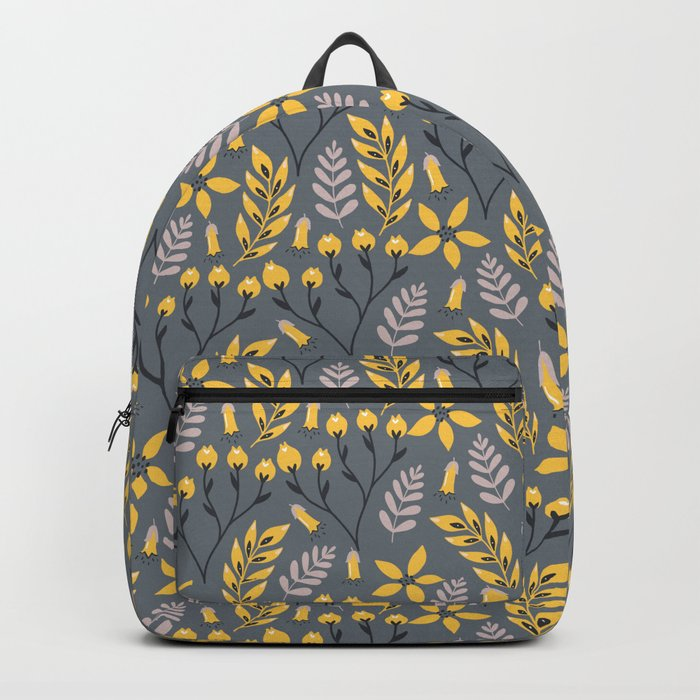 Yellow Floral Gray Backpack