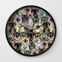 just cats retro Wall Clock