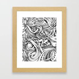 Escher Like Abstract Hand Drawn Graphite Gray Depth Framed Art Print