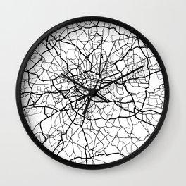 LONDON ENGLAND BLACK CITY STREET MAP ART Wall Clock