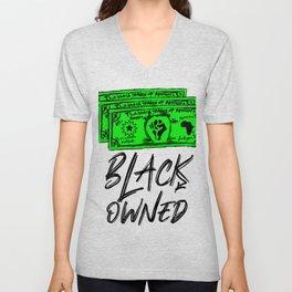 Black Owned Business  Black Lettering Unisex V-Neck