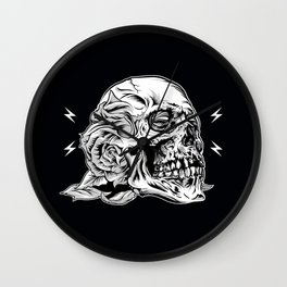 Skullflower Black and White  Wall Clock