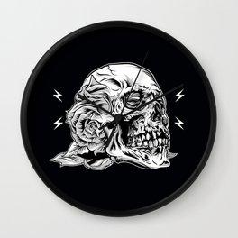 Skullflower Black and White  Wall Clock