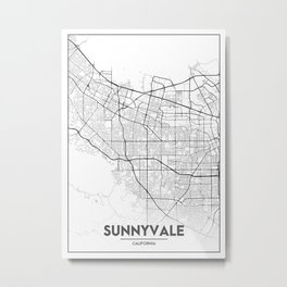 Minimal City Maps - Map Of Sunnyvale, California, United States Metal Print
