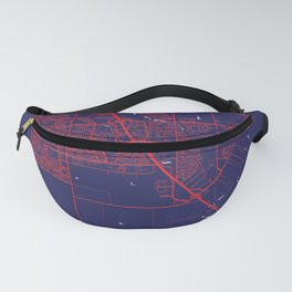Elk Grove, CA, USA, Blue, White, City, Map Fanny Pack