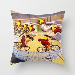 Vintage Bicycle Circus Act Throw Pillow