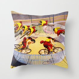 Vintage Bicycle Circus Act Throw Pillow