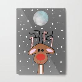 Moonlight Reindeer Metal Print