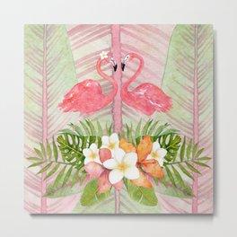 Jungle Pals Series - Flamingo Pair Metal Print