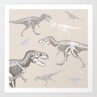 dinosaurs Art Prints featuring Dinosaurs by Darish