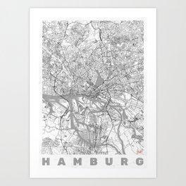Hamburg Map Line Art Print