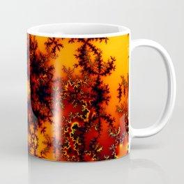 Mystical Golden Fire Lake, Abstract Fractal Baroque Illusion Coffee Mug