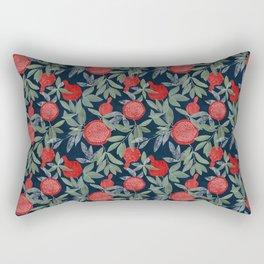 Red pomegranates on dark Rectangular Pillow