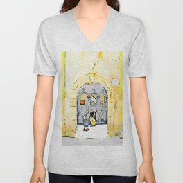 Old woman in courtyard to Tortora Unisex V-Neck