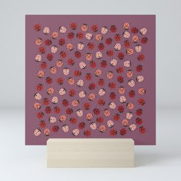 All over Modern Ladybug on Mauve Pink Background Mini Art Print
