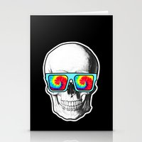 psychadelic Stationery Cards featuring Psychadelic Skull Tiedye glasses by Chara Chara