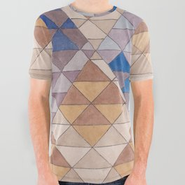 Triangle Pattern No. 13 Shifting Purple and Ochre All Over Graphic Tee