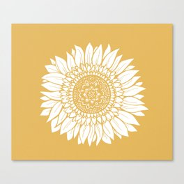 Yellow Sunflower Drawing Canvas Print