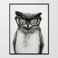 glasses Canvas Prints featuring Mr. Owl by Isaiah K. Stephens