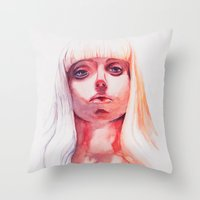 artpop Throw Pillows featuring ARTPOP by Maria Bruggeman
